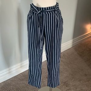 EUC paper bag waist striped crop pants like Anthro